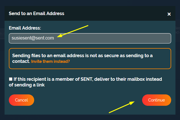 How to securely send a file to an email address?